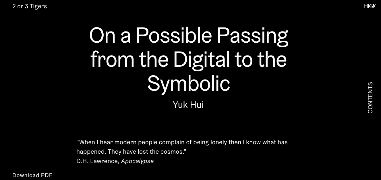 Article: On a Possible Passing from the Digital to the Symbolic