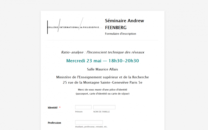 Workshop: Andrew Feenberg's Course on Philosophy of Technology, CIP Paris