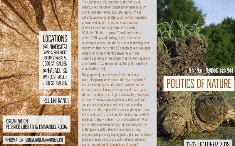 Conference (11-13 Oct 2018, St Gallen): Politics of Nature